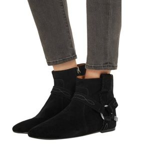 Isabel Marant Black Suede Ralf Harness Boots 37